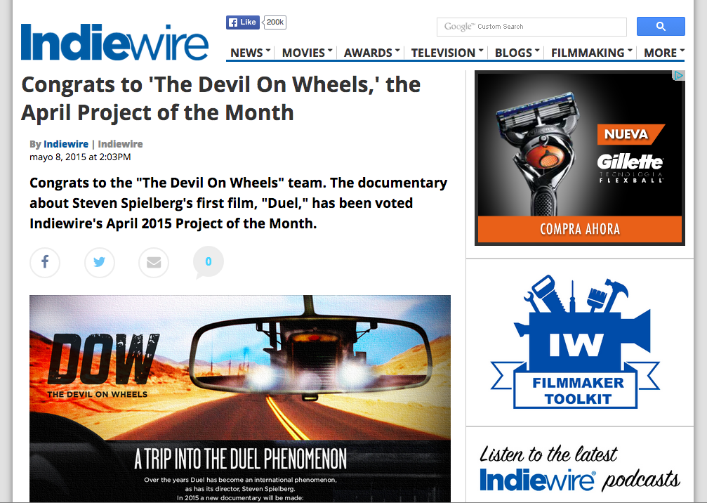 DOW IS INDIEWIRE APRIL PROJECT OF THE MONTH!