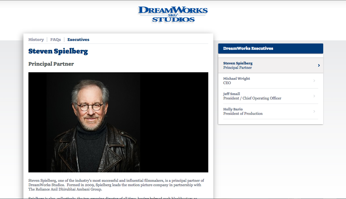 Dreamworks page on Spielberg