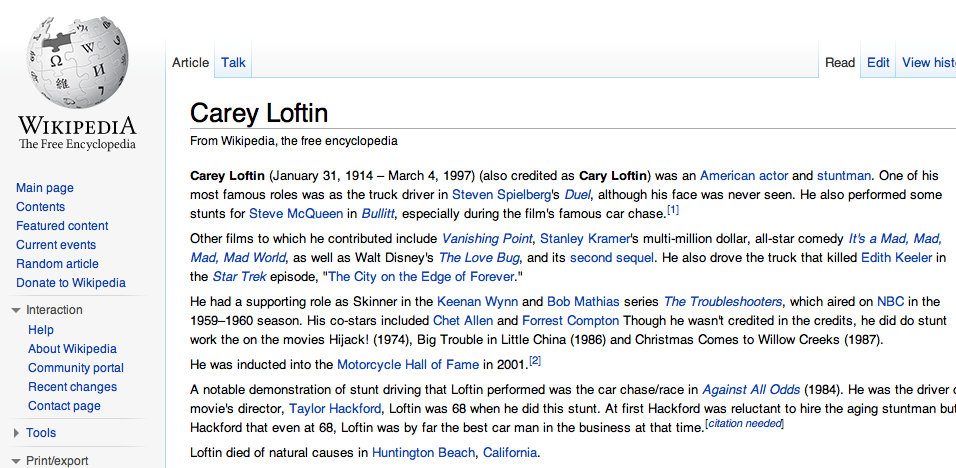 Carey Loftin Wkipedia