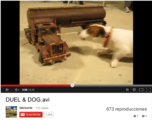 Dog chases Duel truck model
