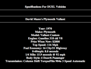 Duel vehicles tech specifications