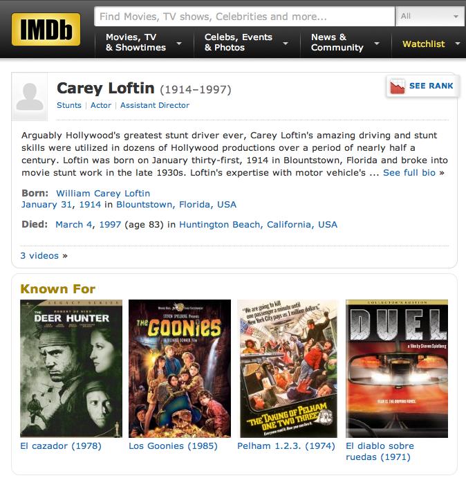 CAREY LOFTIN Stunt driver (IMDB page)