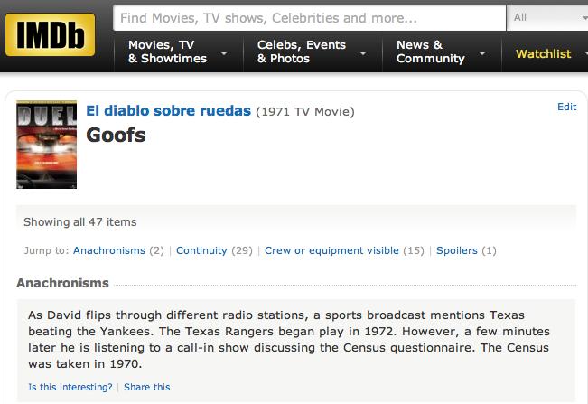 IMDB Duel goofs