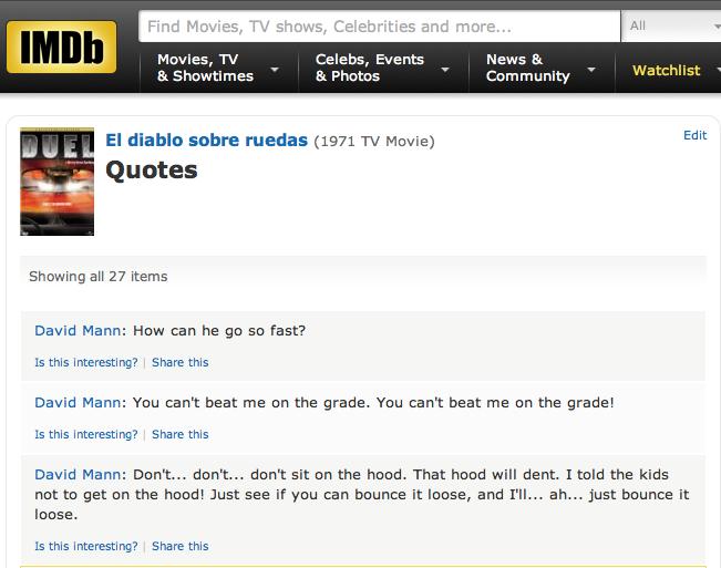 IMDB Duel quotes