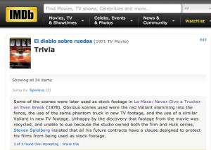 IMDB Duel trivia
