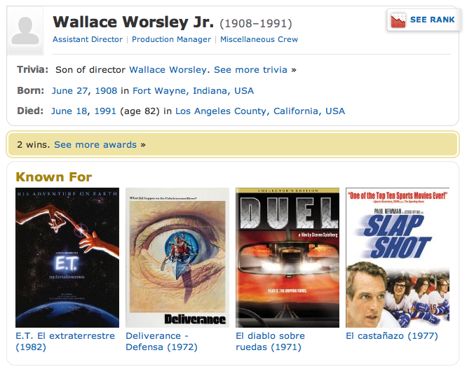 WALLACE MORSLEY JR Production Manager (IMDB page)
