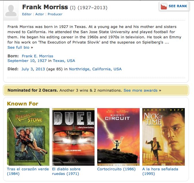 IMDB Page on Frank Morriss, Film Editor