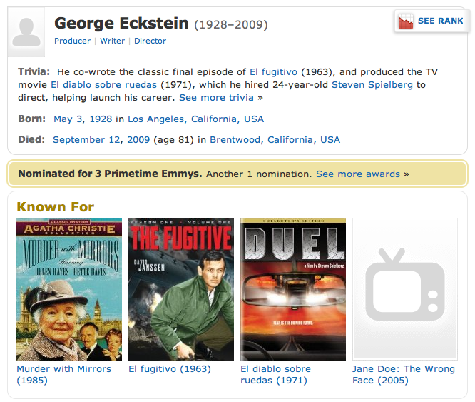 IMDB Page on George Eckstein, producer