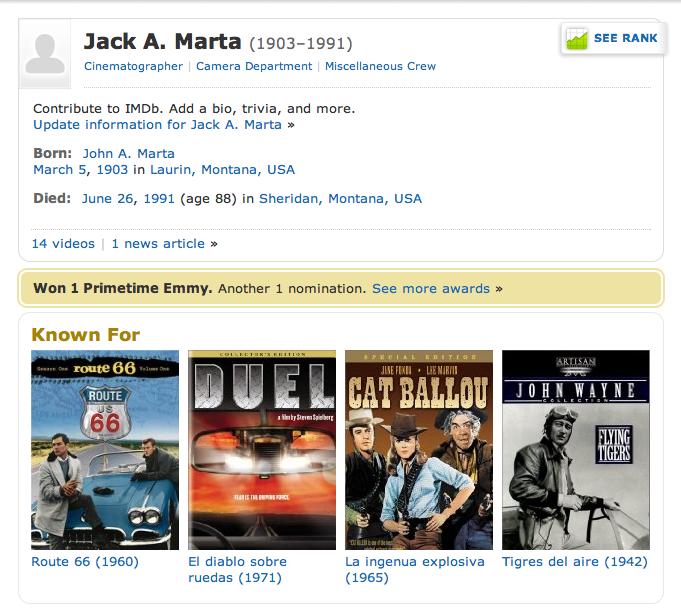 IMDB Page on Jack A. Marta, DOP