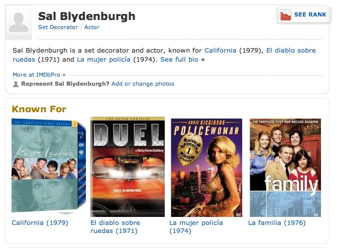 SAL BLYDENBURGH Set decorator (IMDB page)