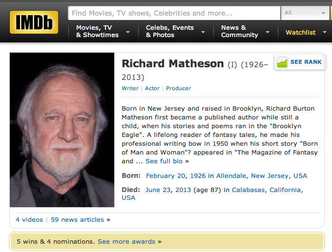 IMDB Richard Matheson's page