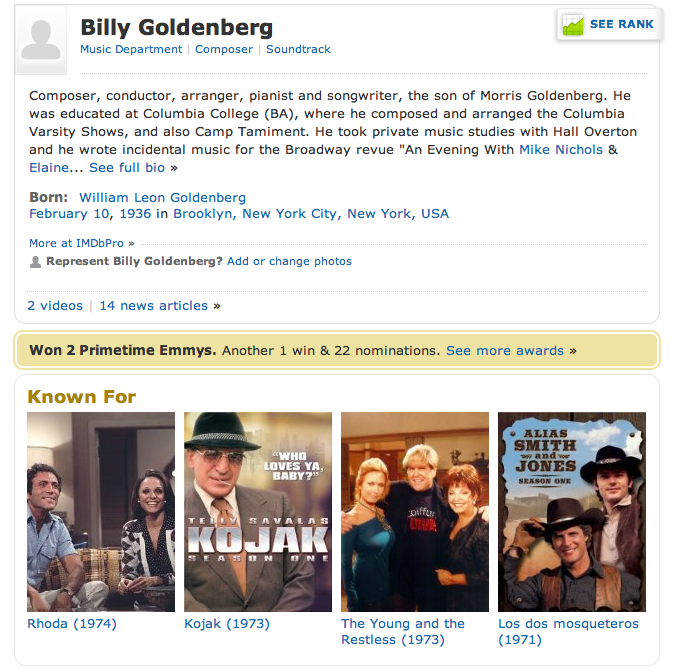 IMDB page on Billy Golbenberg, musician
