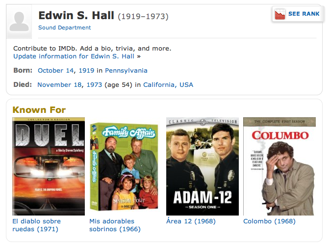 EDWIN S HALL Sound Department (IMDB page).