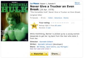 IMDB Duel Hulk Episode page