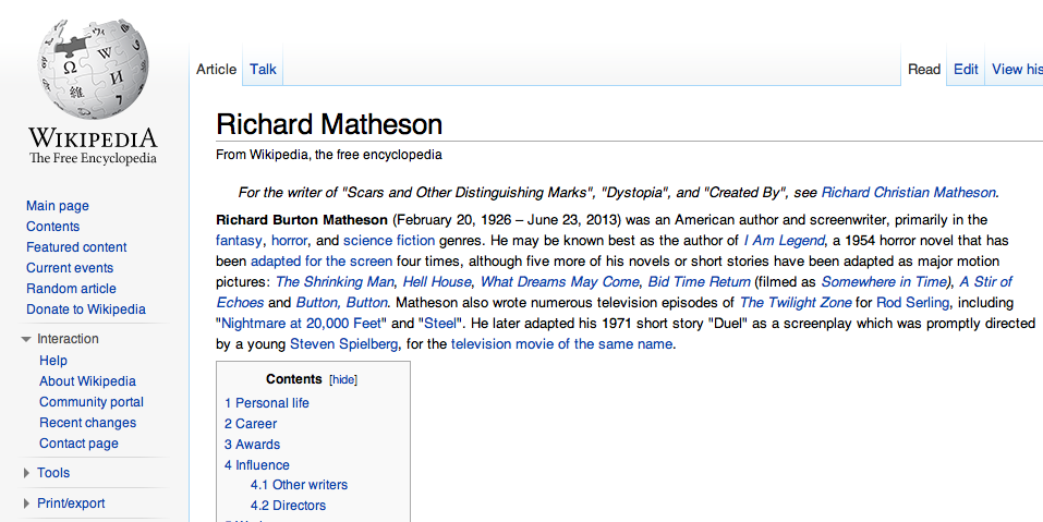 Richard Mathesons' Wikipedia page