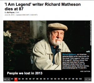 Richard Matheson's passing