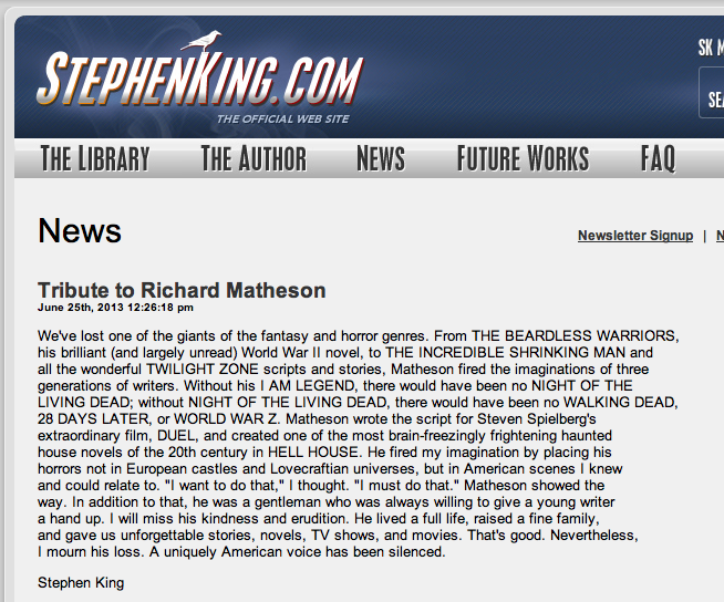 Stephen King's tribute to Matheson