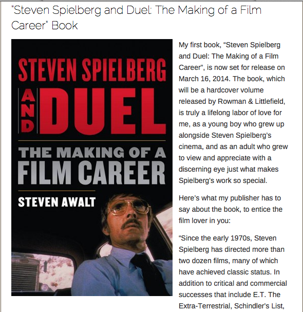 Steven Spielberg and Duel. New book!