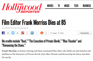 The HOLLYWOOD REPORTER on film editor FRANK MORRIS death
